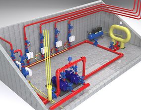 compressor 3D model Pump station fire extinguishing