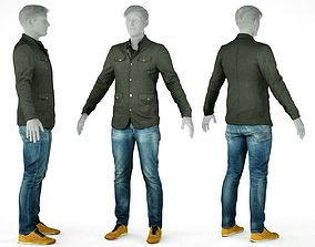 Male Casual Outfit 2 Jacket Jeans Shoes 3D asset