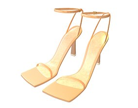 Square Toe Leather Sandals v1 002 3D asset low-poly