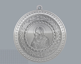 marie Mary with Child Medallion 3D print model
