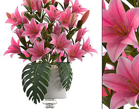 3D model bouquet of pink lilies