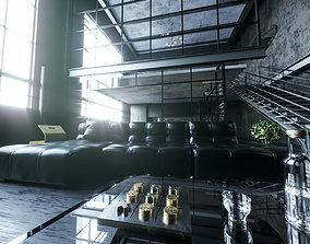 3D model VIP loft room cinema 4D corona render