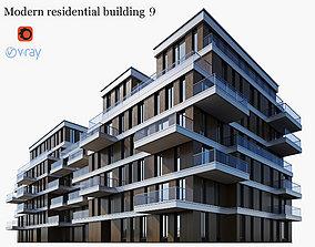 Modern residential building 9 3D model