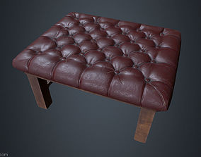 3D asset Leather Chesterfield Stool - Leather Chair - 1