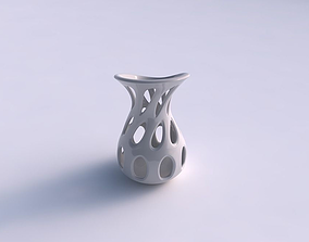 3D print model Vase curved with smooth cuts eccentric