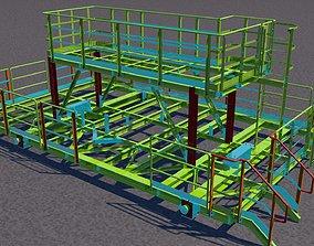 Steel two-level platform 3D model