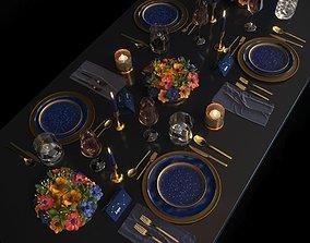 light Blue night table set 3D