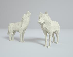 Low Poly Paper Wolves 3D model