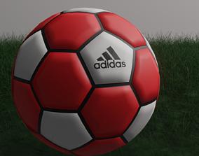 Red football on grass 3D model