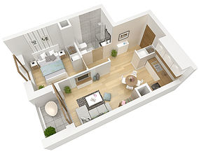 3D floor plan apartment flat
