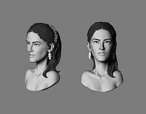 human 3D print model Salma hayek bust stylized