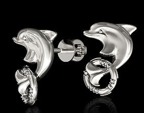 fish Dolphin with lifebuoy earrings 3D print model