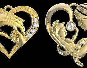 3D print model mother and baby pendants
