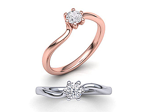Six-Claw Compass Twist Solitaire ring 3d model