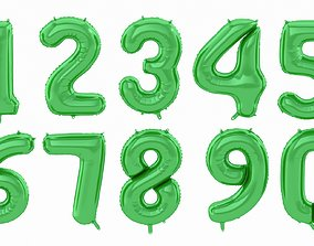 3D Balloon Numbers Green Color