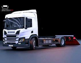 3D model Scania P Series With Trailer Fully Rigged