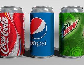 3x 3D Cans PBR soda