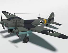 3D model Low Poly Cartoon Junkers Ju 88 WWII Airplane