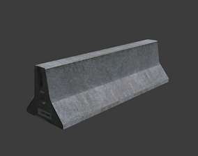 racing Concrete barrier 3D model realtime