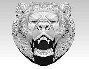 Angry bear head grizzly 3D print model