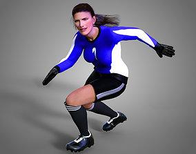 Caucasian Football Soccer GoalKeeper Female 3D model