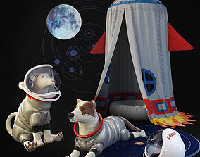 Childrens room set Tent rocket Dogs astronauts Toy dod 3D