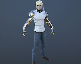animated One punch man GENOS 3d model low poly