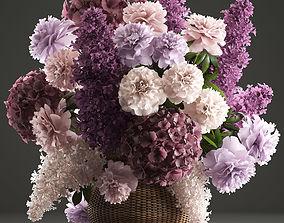 Bouquet of flowers in a basket 3 3D