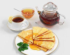 Still life Pancakes with Honey 3D
