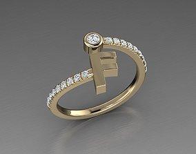 Jewelry Alphabet Diamond Ring F 3D print model