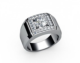 3D print model men ring with big diamonds