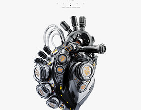3D Black robotic heart II machine