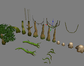 3D Game Model Arena - forest trees grass 01