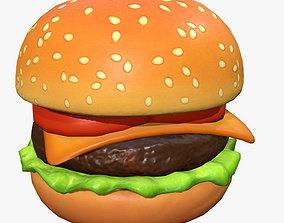 3D asset Cartoon Cheeseburger