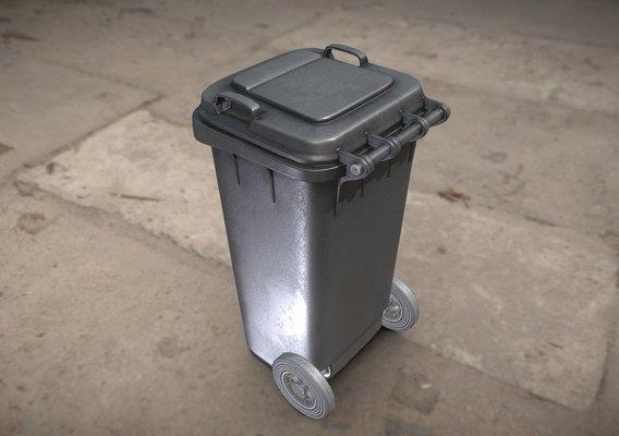 Black Plastic Waste Bin 120 Liters 945x393x480