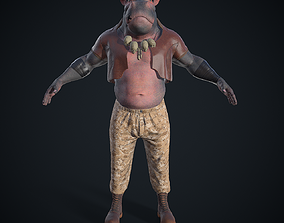 Hippo character 3D model animated