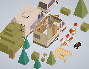 3D asset isometric camping van car parked with barbecue