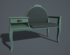 3D model Old armchair with a table PBR