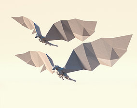 3D model Low Poly Paper Dragon