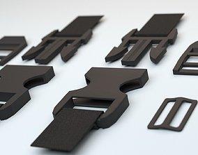 Set of fastener plastic buckle fastex semi-automatic 3D