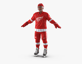 3D Hockey Player Detroit Red Wings