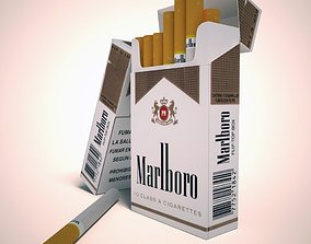 3D model Marlboro lights cigarette pack