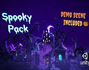 realtime Cartoon spooky low poly 3D models