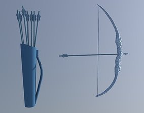 Ice Bow and Arrows 3D asset