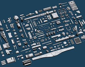 Juju scifi Lowpoly Greebles 3D asset