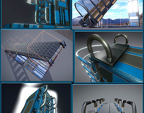 Futuristic Ladders and Stairs Package Blue 3D model