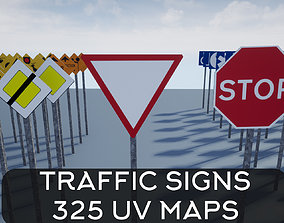 Traffic Sign Pack 3D model game-ready