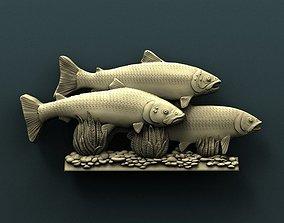 Salmon 3d stl model for cnc