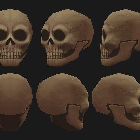 Human Skull Handpaint Gameready