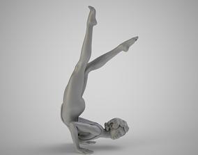 Woman in Yoga Handstand female 3D print model